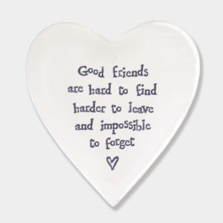 "image of East Of India ""Good Friends are hard to find"" Heart Coaster"