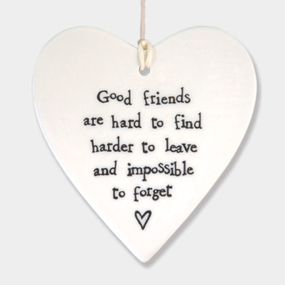 "East Of India Hanging Heart"" Good Friends"""