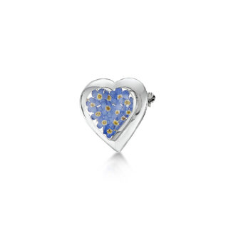 image of Silver Brooch - Forget Me Not - Lg Heart