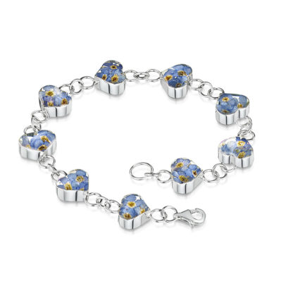 image of Silver Bracelet - Forget-me-not - Heart