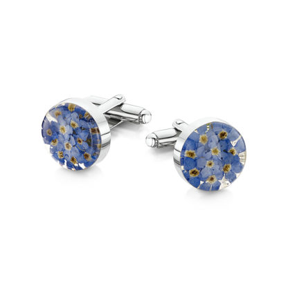 image of Cufflinks with real forget-me-nots.