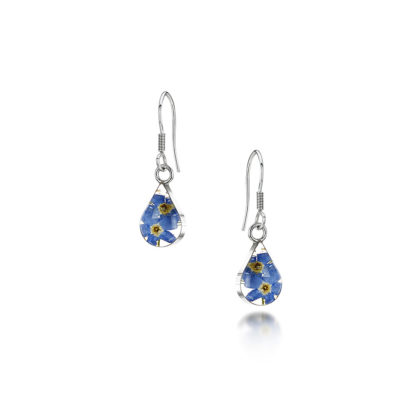 image of Silver drop Earring - Forget me not -Teardrop