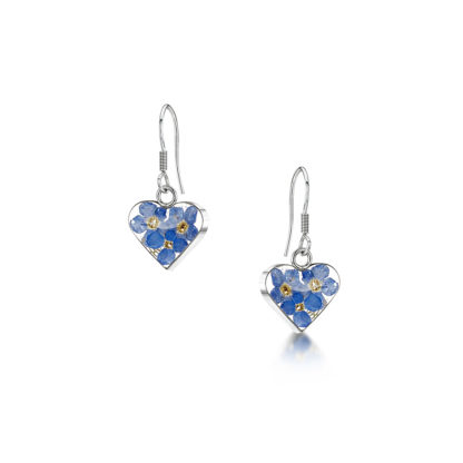 image of Silver drop Earrings - Forget-me-not - Heart