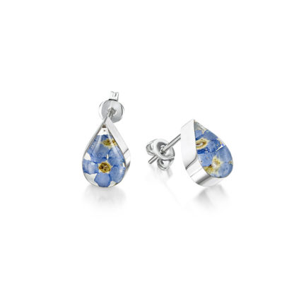 image of Silver Stud - Forget-me-not - Teardrop