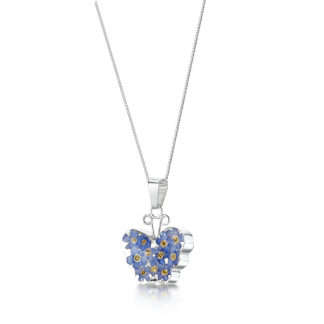 image of Silver Necklace - Forget me not - Med Butterfly