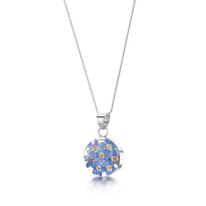 image of Silver Necklace - Forget me not - Med Round