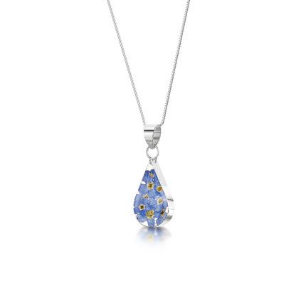 image of Silver Necklace - Forget-me-not - Teardrop