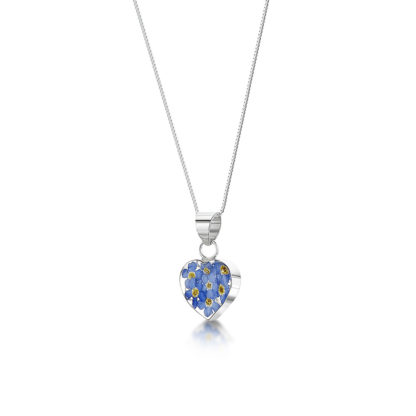 image of Silver Necklace - Forget-me-not - Heart