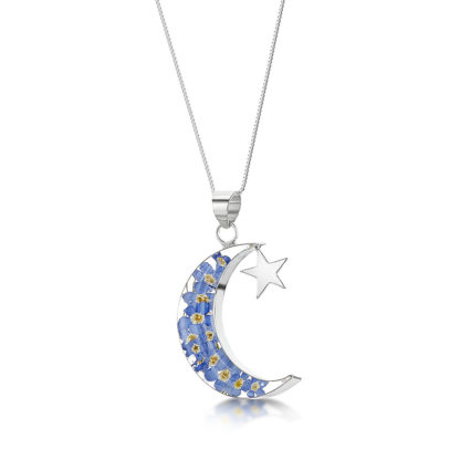 image of Silver Necklace | Forget me not | Moon & Star