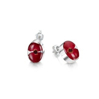 image of Silver stud Earrings - Poppy collection - Oval