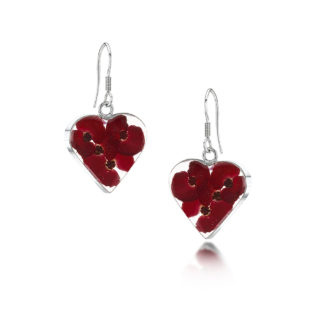 image of Silver drop Earrings - Poppy collection - Heart