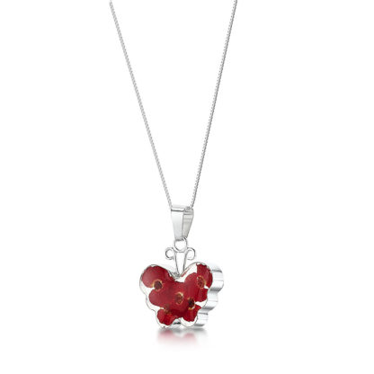 image of Silver Necklace - Poppy collection - Med Butterfly