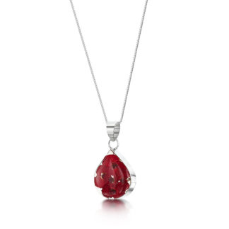 image of Silver Necklace - Poppy collection - Teardrop