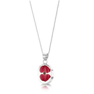 image of Silver Necklace - Poppy collection - Oval