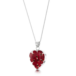image of Silver Necklace - Poppy collection - Med Heart