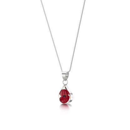 image of Silver Necklace - Poppy collection - Sm Teardrop