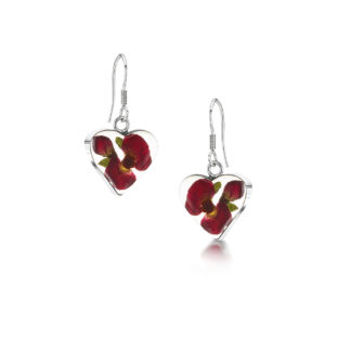 image of Silver Drop Earrings - Poppy/Rose - Heart
