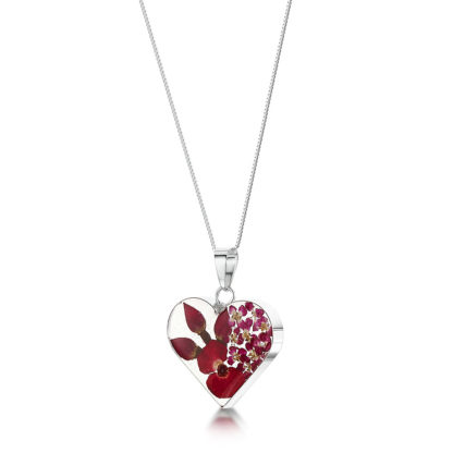 image of Silver Necklace - Bohemia Poppy/Rose - Med Heart