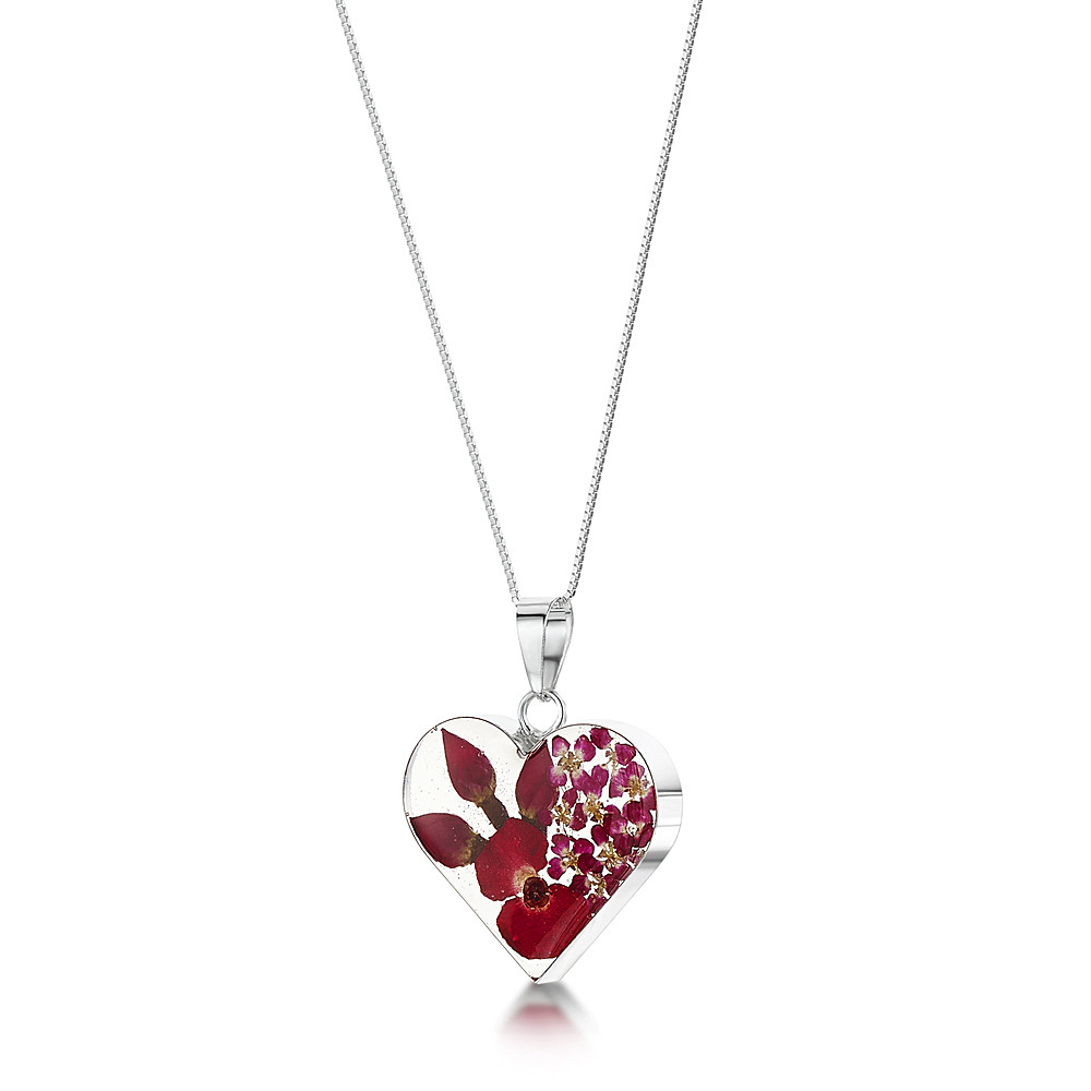Silver heart pendant - Rosebud & forget-me-not - includes an 18