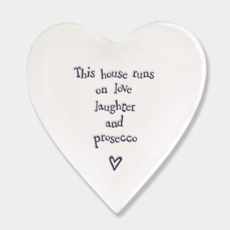 "image of East Of India Heart Coaster ""This house runs on love, laughter and prosecco"""