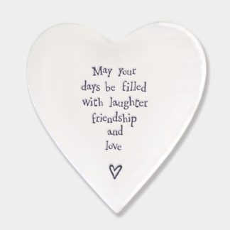 "image of East Of India Heart Coaster ""May your days be filled with laughter, friendship and love"""
