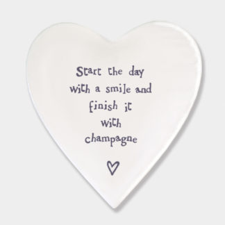 """image of East of India Heart Coaster """"start the day with a smile and finish it with champagne"""""""