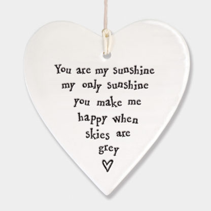 """image of East Of India Hanging Heart """"You are my sunshine"""""""
