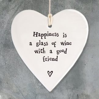 image of Hanging Heart - Happiness is a glass of wine