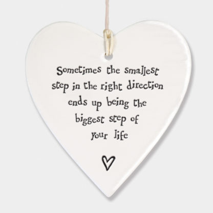 "image of East of India - Hanging Heart ""Sometimes the smallest step....."""