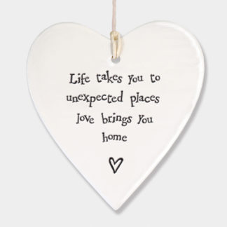 "image of East of India Hanging Heart ""Life takes you ........"""