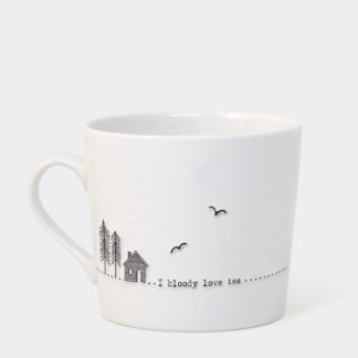 "image of East of India - Wobbly Mug ""I bloody love tea"""
