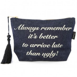 "image of make up bag denim ""better late than ugly"""