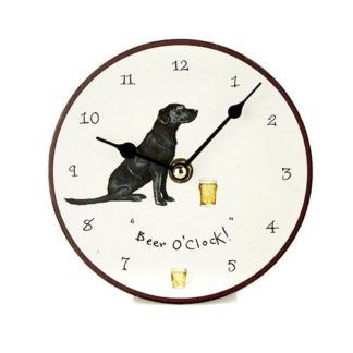 "image of a black Labrador clock with the words ""beer o'clock"""