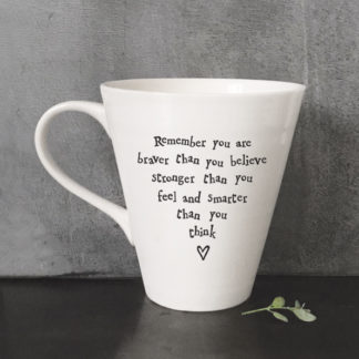 image of white mug with text - remember you are braver