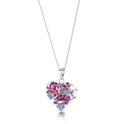 image of silver heart necklace with purple haze design by shrieking violet