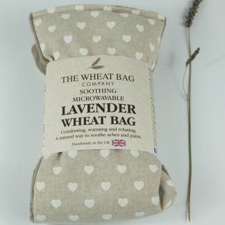 image of Microwavable Wheat Bag – English Lavender Scent – White Hearts