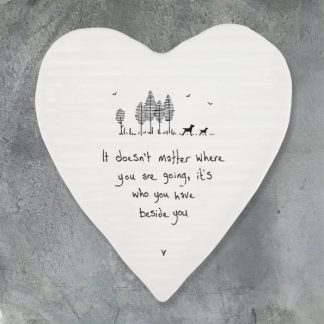 image of heart coaster it doesn't matter where you are going