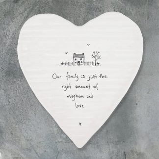 image of heart coaster our family is just the right amount