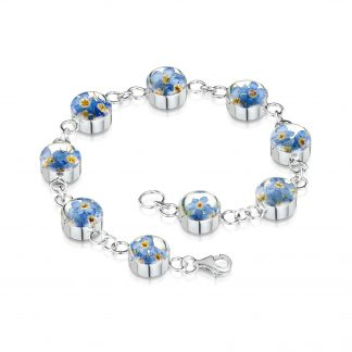 image of silver bracelet with forget-me-not flowers