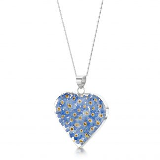 image of silver heat pendant with forget-me-not flowers