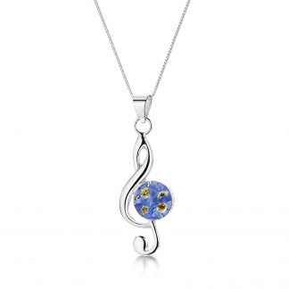 image of silver pendant with treble chef design and forget-me-not flowers
