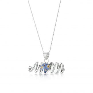 image of silver mum pendant with forget-me-not-flowers