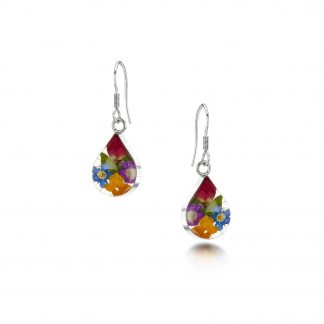 image of silver teardrop earrings with mixed flowers