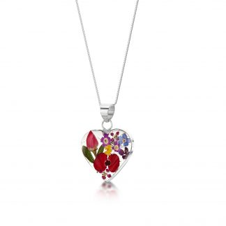 image of silver heart pendant with mixed flowers