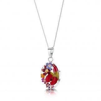 image of silver necklace with oval pendant with mixed flowers