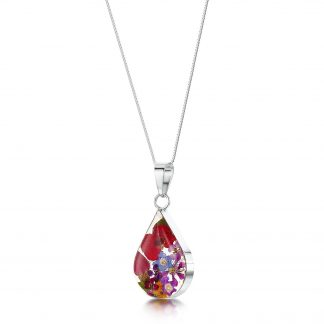 image of silver teardrop pendant with mixed flowers