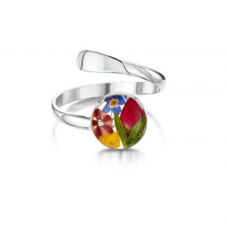 image of silver adjustable ring with mixed flowers