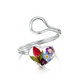 image of silver adjustable heart ring with mixed flowers