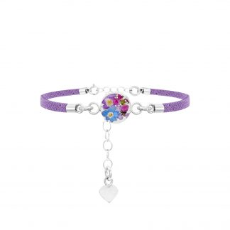 image of fashion bracelet with purple strap and purple haze real flowrers
