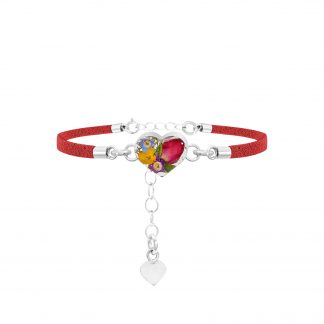 image of fashion bracelet with red strap and mixed flower
